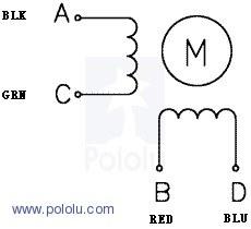 bipolar nema 11 200 adım 28x32 mm 3.8 v step motor -pl-1205 kablo renklerine göre bağlantı şekli
